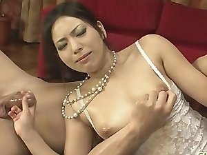 Japanese wife in white lingerie gets fucked