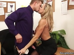 Hot office lady Brandi Love seduces her younger boss