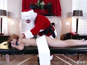 Marie McCray and Johnny Sins have hot Christmas massage