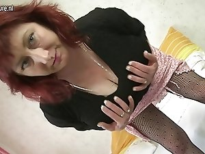 Mature redhead mom shows off huge tits and likes a big cock