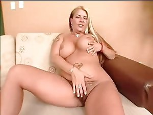 Busty blonde milf with big tits and hairy pussy masturbates