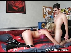 Mature amateur wife sucks and fucks with a young guy