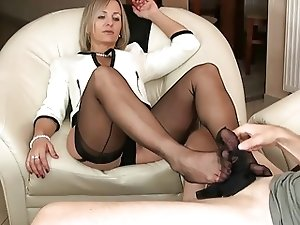 mature nylon footjob and handjob 8