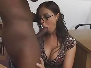 Female brunette white teacher with male black student - Interracial