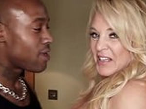 Blonde mom rides on long black dick